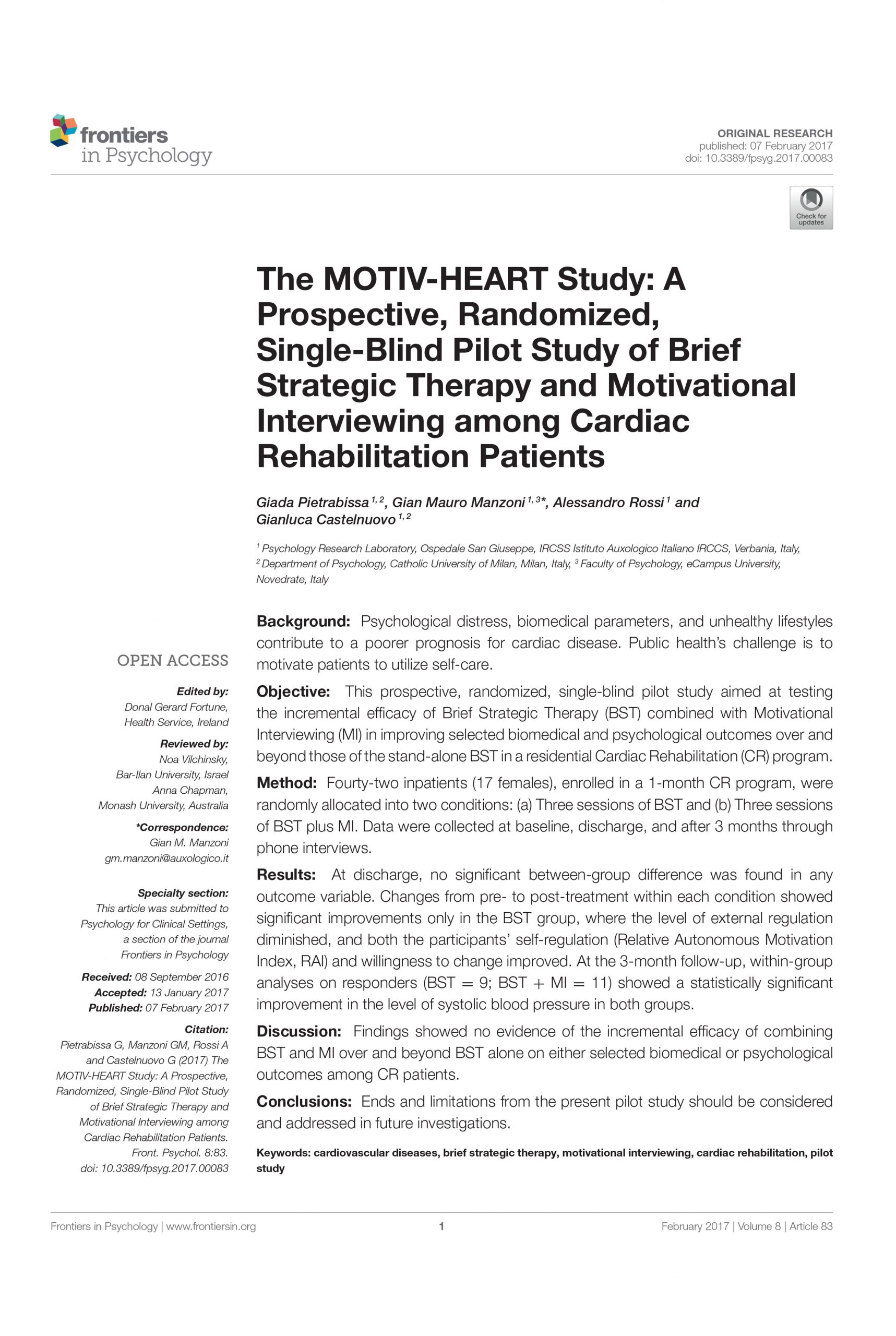 Brief Strategic Therapy and Motivational Interviewing